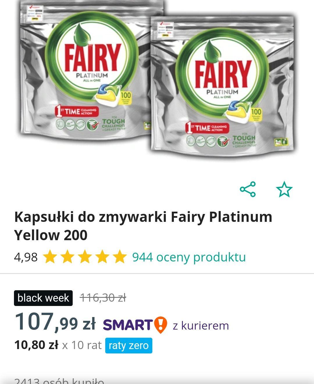 Kapsułki Fairy Platinum Yellow 200szt. w Allegro