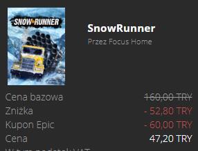 Snowrunner Epic games VPN Turcja z kodem