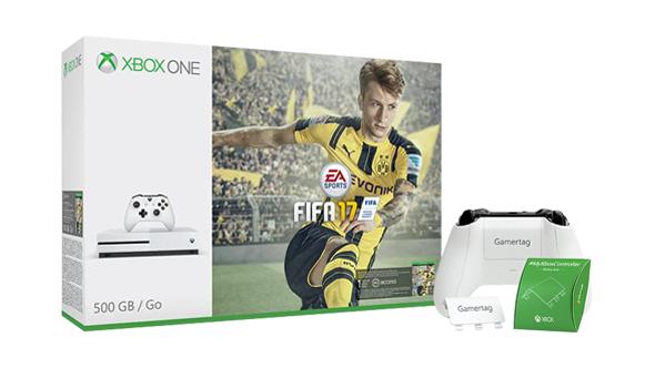 XBOX ONE-S 500GB + 2 PADY + FIFA 17 + PERSONALIZACJA PADA