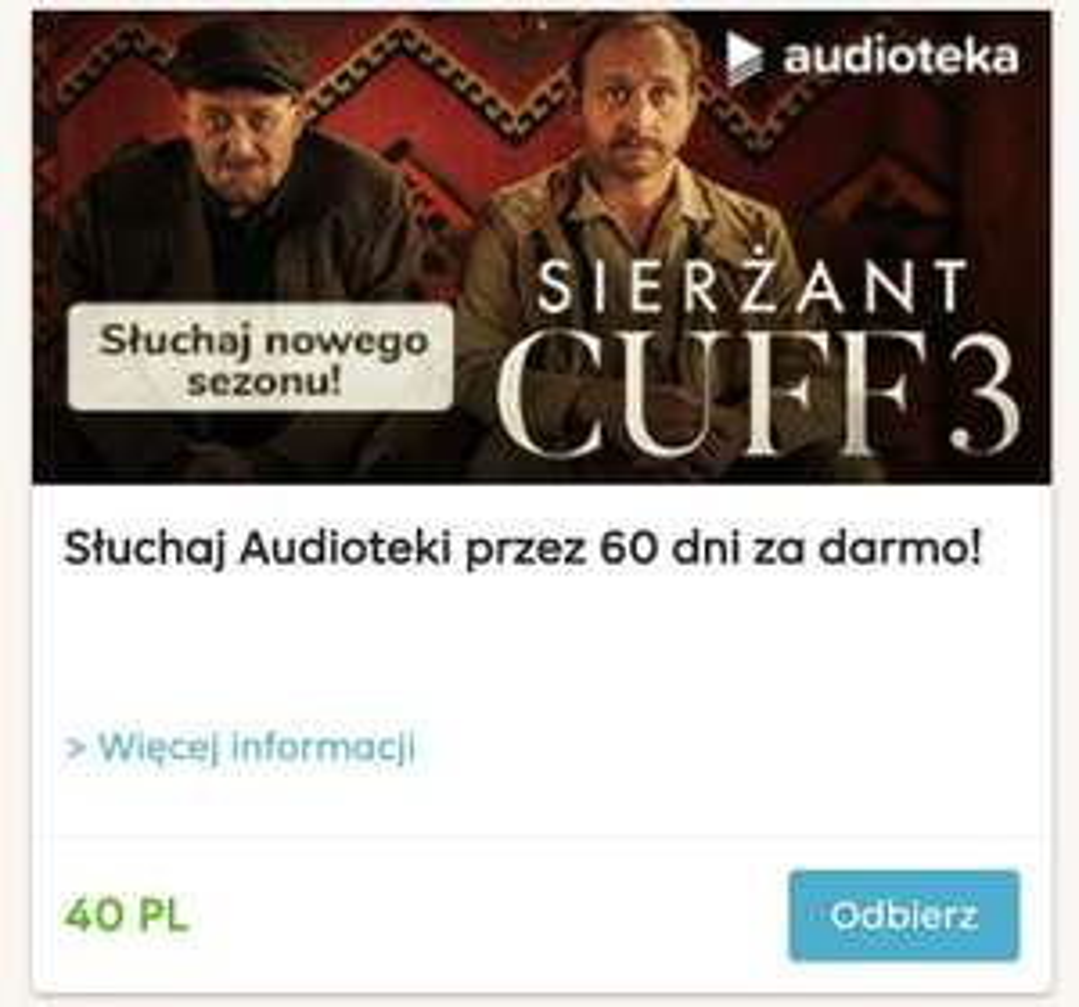 Audioteka 60 dni za darmo z pyszne.pl za 40 pkt audiobook