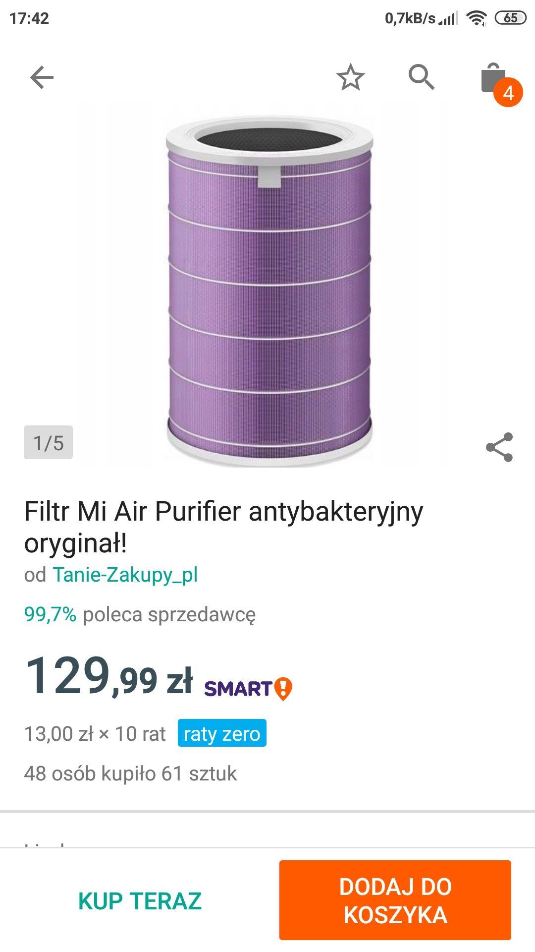 Oryginalny Filtr Antybakteryjny Fioletowy Xiaomi Air Purifier