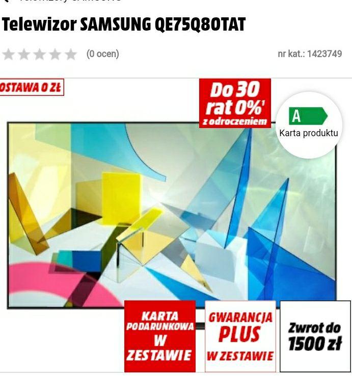 Telewizor SAMSUNG QE75Q80TAT + 700 zł na karcie podarunkowej