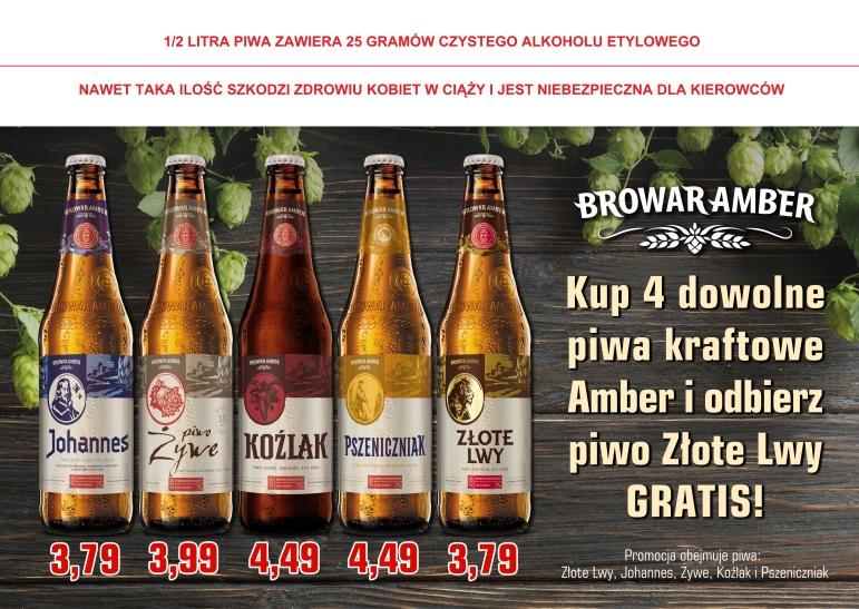 Piwo Złote Lwy gratis przy zakupie 4 dowolnych piw z browaru Amber