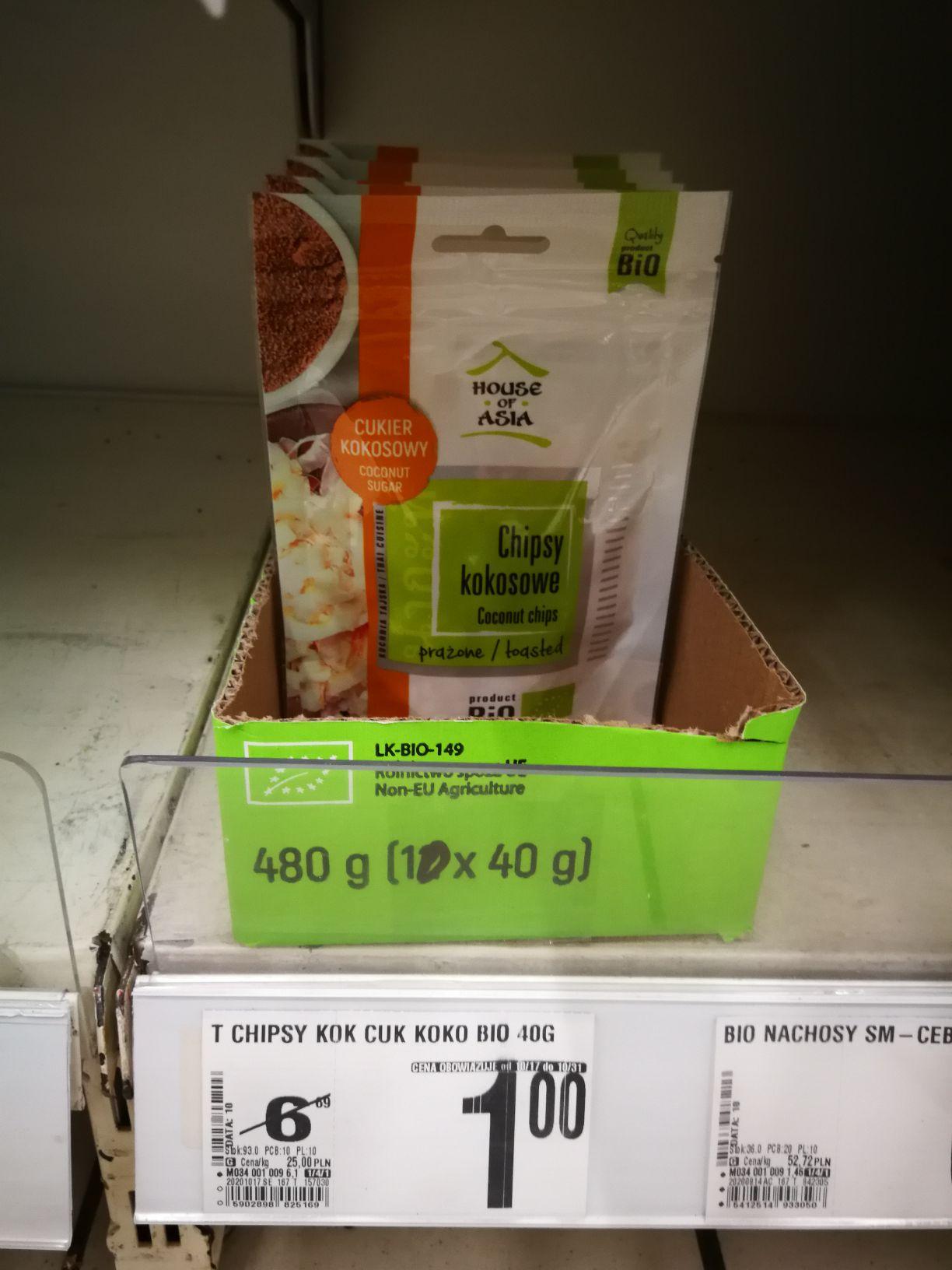 Chipsy kokosowe bio 40g [Auchan Ursynów]