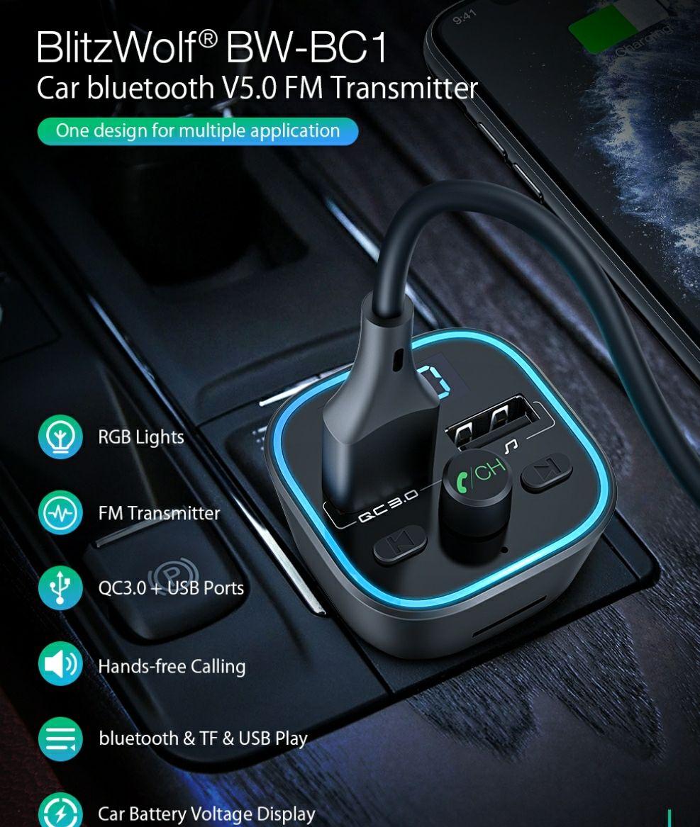 BlitzWolf® BW-BC1Transmiter Bluetooth 5.0 18W QC 3.0 @Banggood