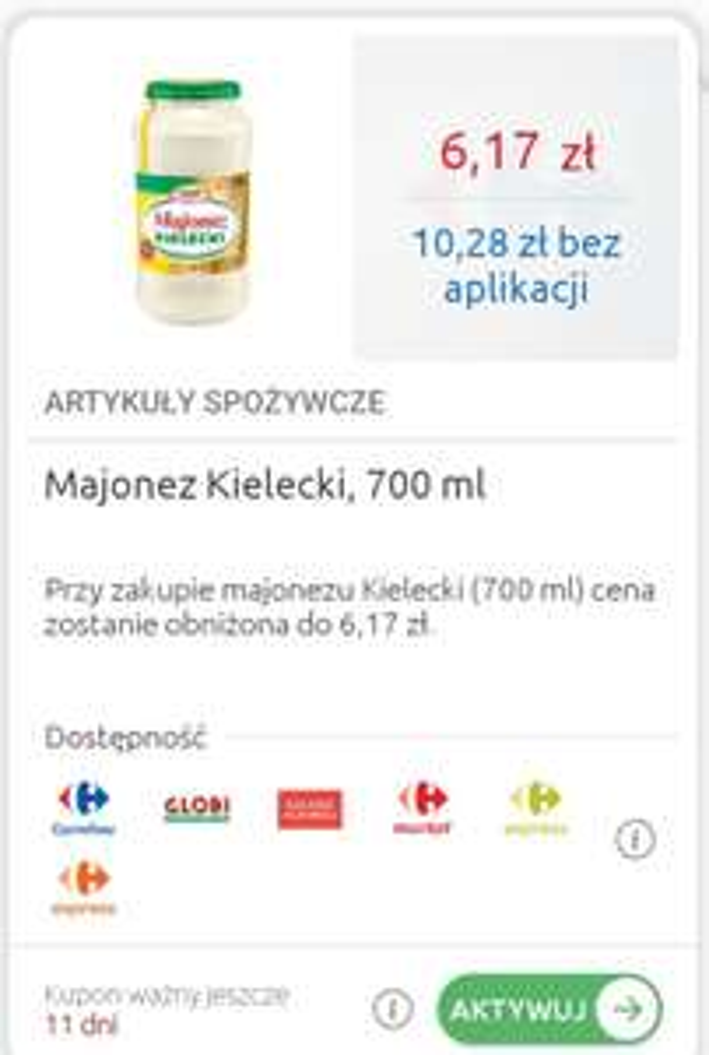 Majonez Kielecki 700 ml Carrefour max 6szt