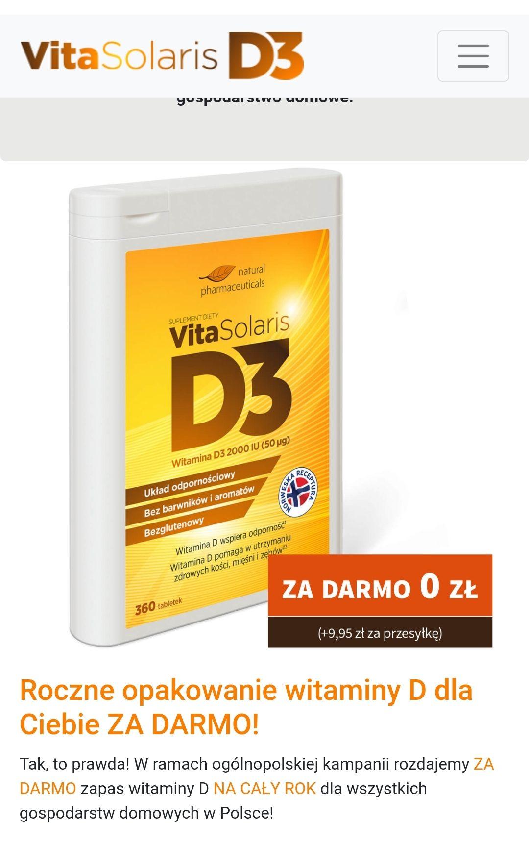 Vita Solaris D3- Darmowy zestaw tabletek na cały rok !