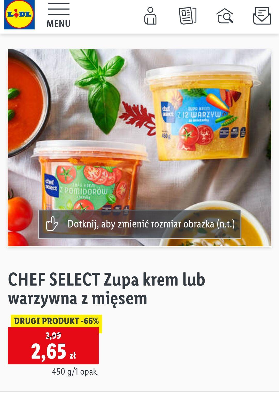 Zupa krem lub warzywna z mięsem 450g w Lidl. Cena przy zakupie dwóch.