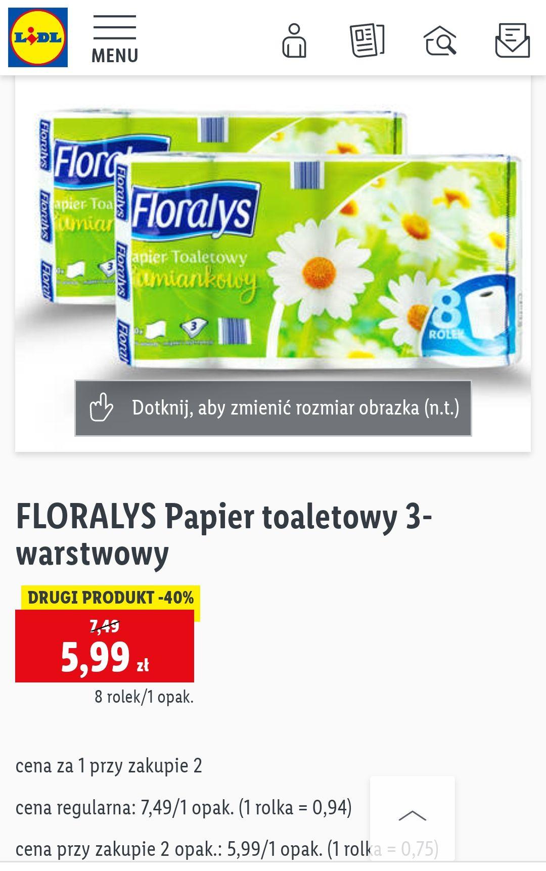 Papier toaletowy Floralys 3-warstwowy w Lidl. Cena przy zakupie dwóch.