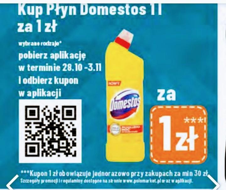 Domestos 1l za 1zł przy pobraniu aplikacji Polomarket w dniach 28.10-03.11.20 i zakupach za minimum 30 zł