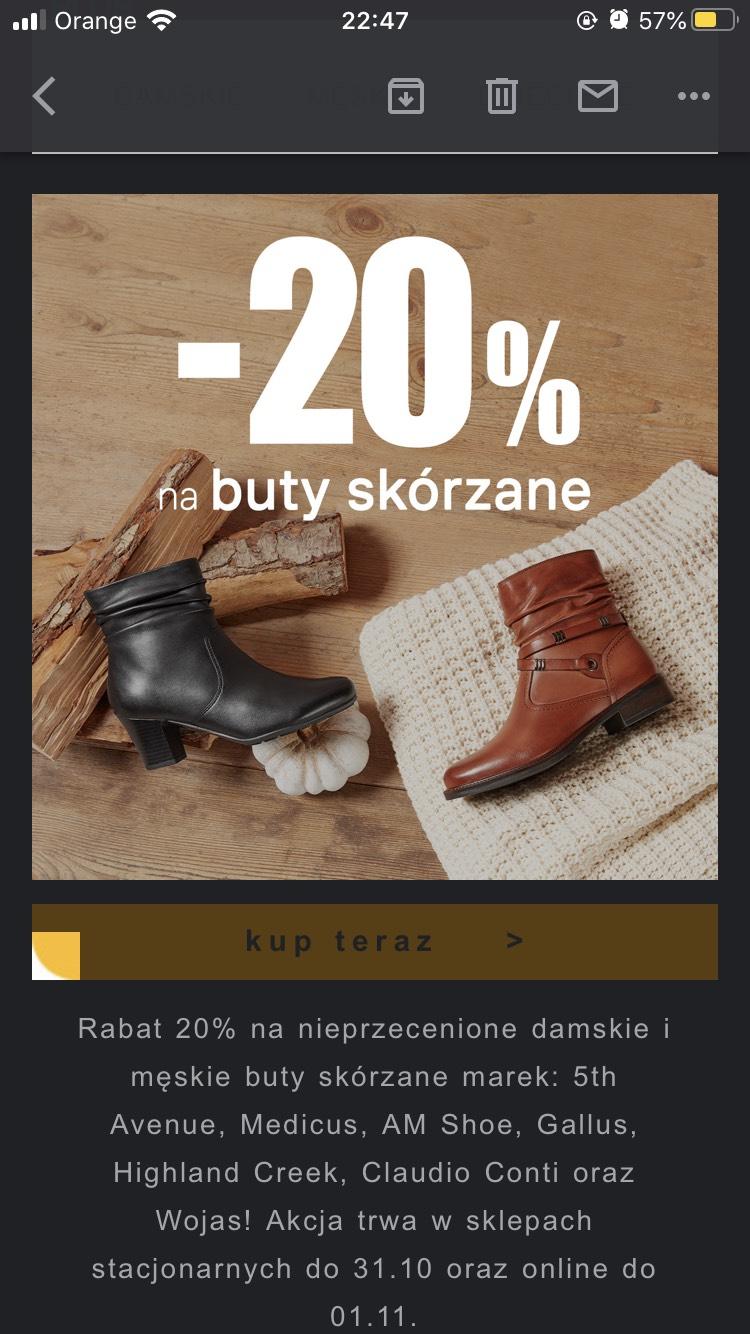 -20% na skórzane buty w Deichmann