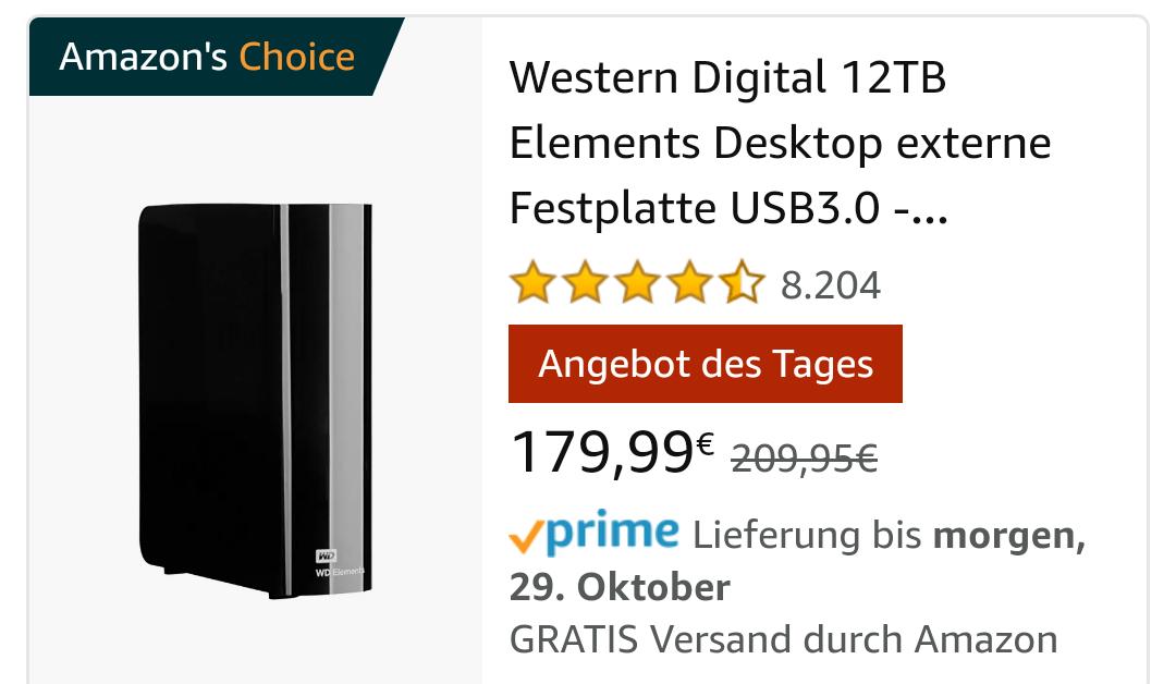WD Elements 12TB, EUR 179,99