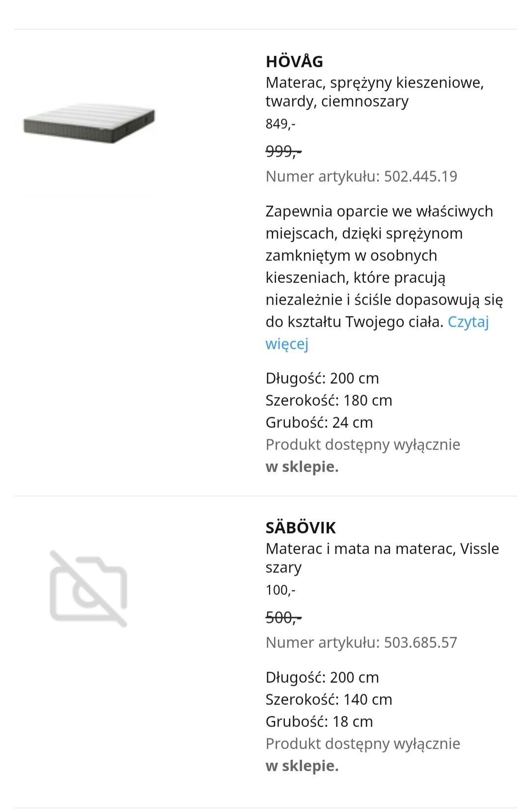 Wyprzedaż materacy Ikea Wrocław Säbövik Hamarvik i inne