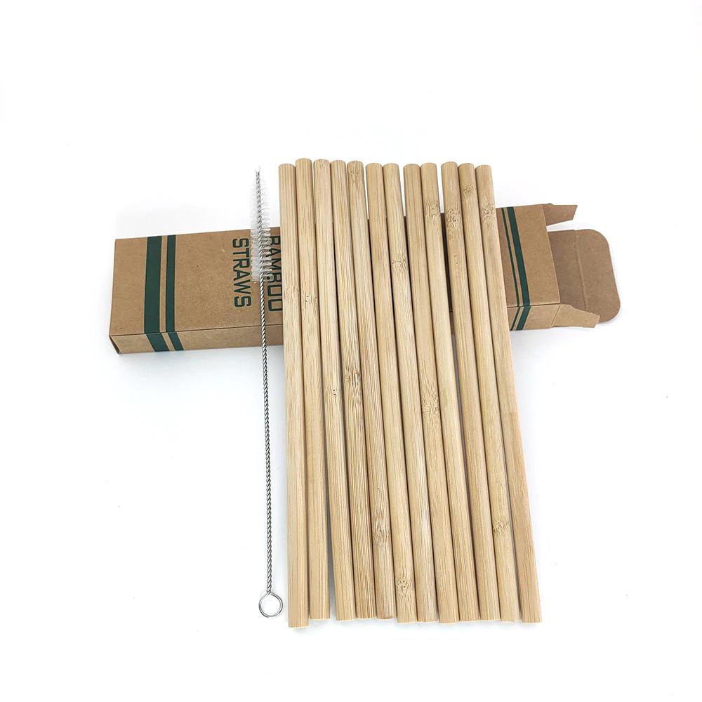 Bambusowe słomki 12 sztuk + czyścik