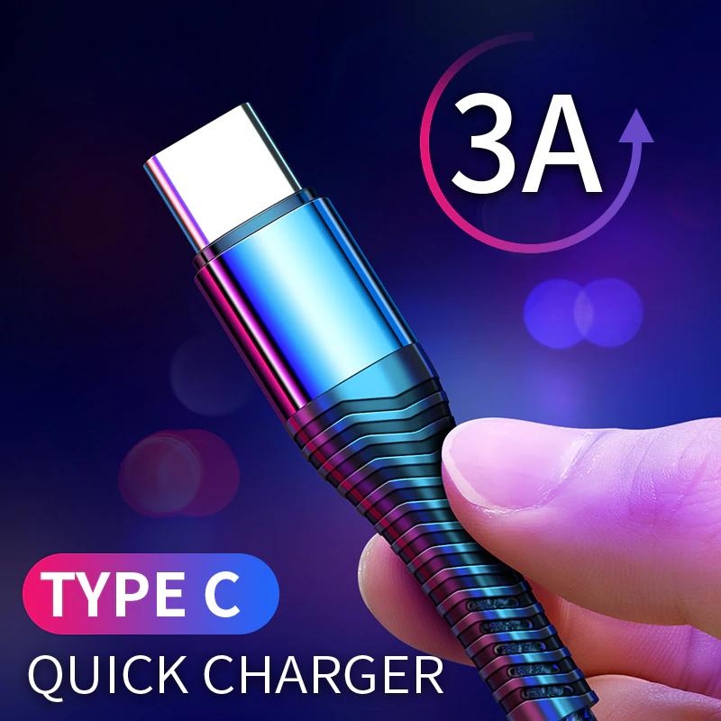 Kabelki Rock USB o różnej długości (MicroUSB, USB-C, Lightning) 3A