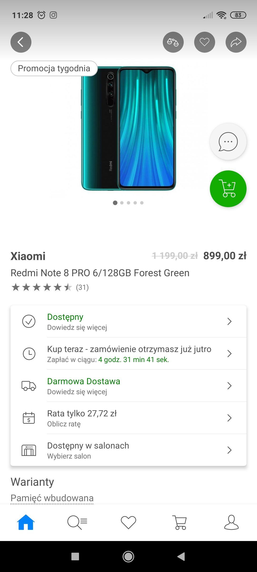 Xiaomi redmi note 8 pro xkom+ kolory do wyboru