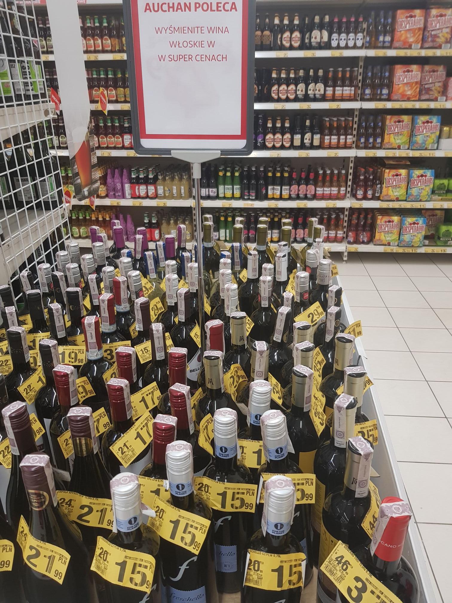 Promocja Wina włoskie francuskie Auchan KingCross Poznań