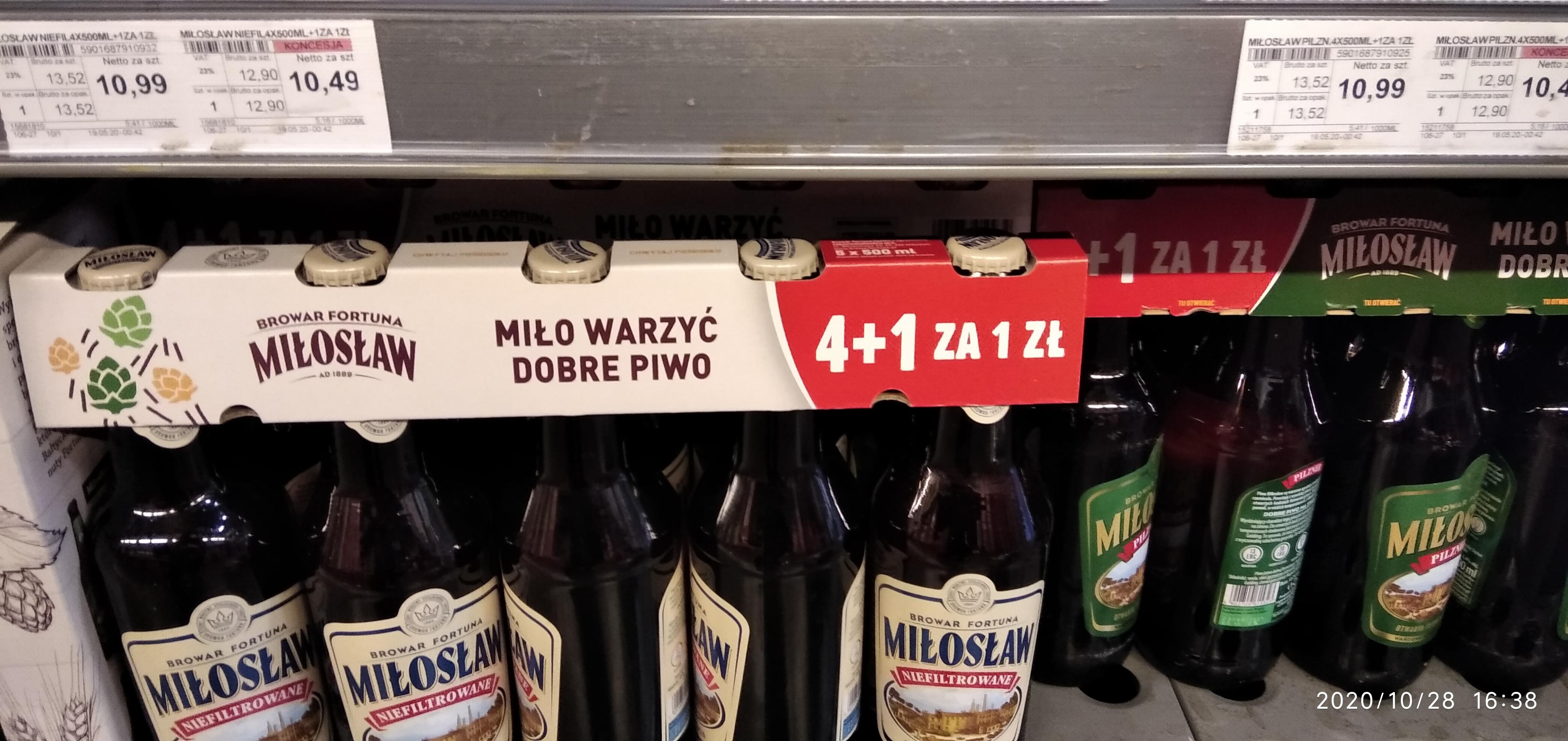 """Piwo Miłosław niefiltrowane lub Pilzner """"4+ 1 za 1 zł""""bez koncesji 13,52zł(2,70zł/szt.),z koncesją 12,90zł(2,58zł/szt.) w Selgros"""