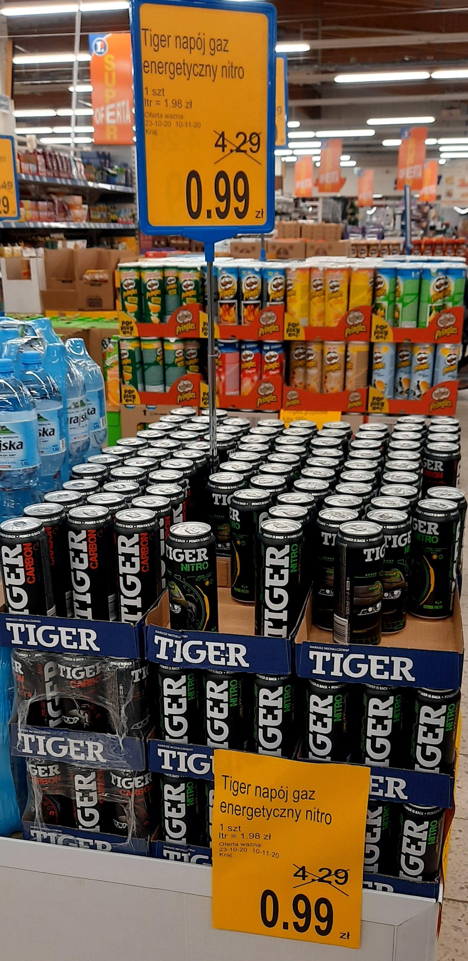Napój energetyczny Tiger Carbon / Nitro cena : 0,99zł/szt. (0,5l) E.Leclerc