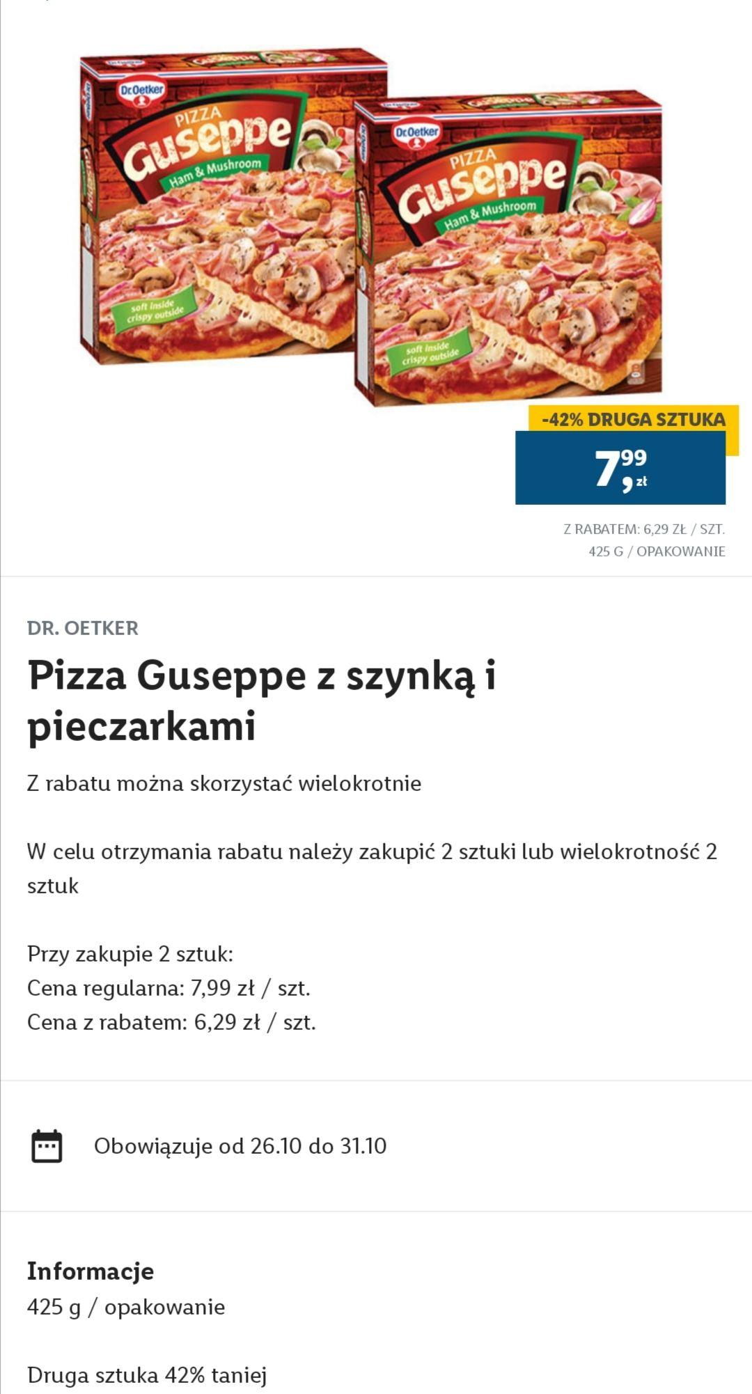 Pizza Guseppe z szynką i pieczarkami, cena przy zakupie dwóch sztuk. Lidl