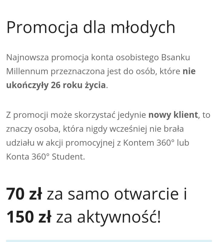 Premia 220zł za założenie konta Milenium