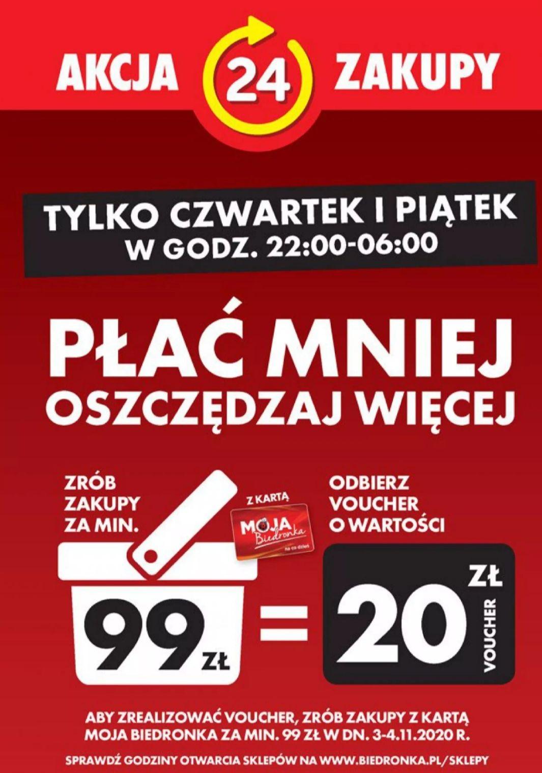 Biedronka Voucher 20 zł przy zakupach za 99