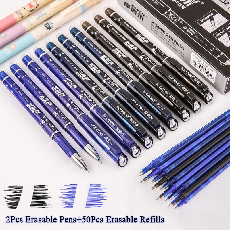 2x Długopis żelowy (zmywalny) + 50 nabojów czarny/czerwony/niebieski $1.66