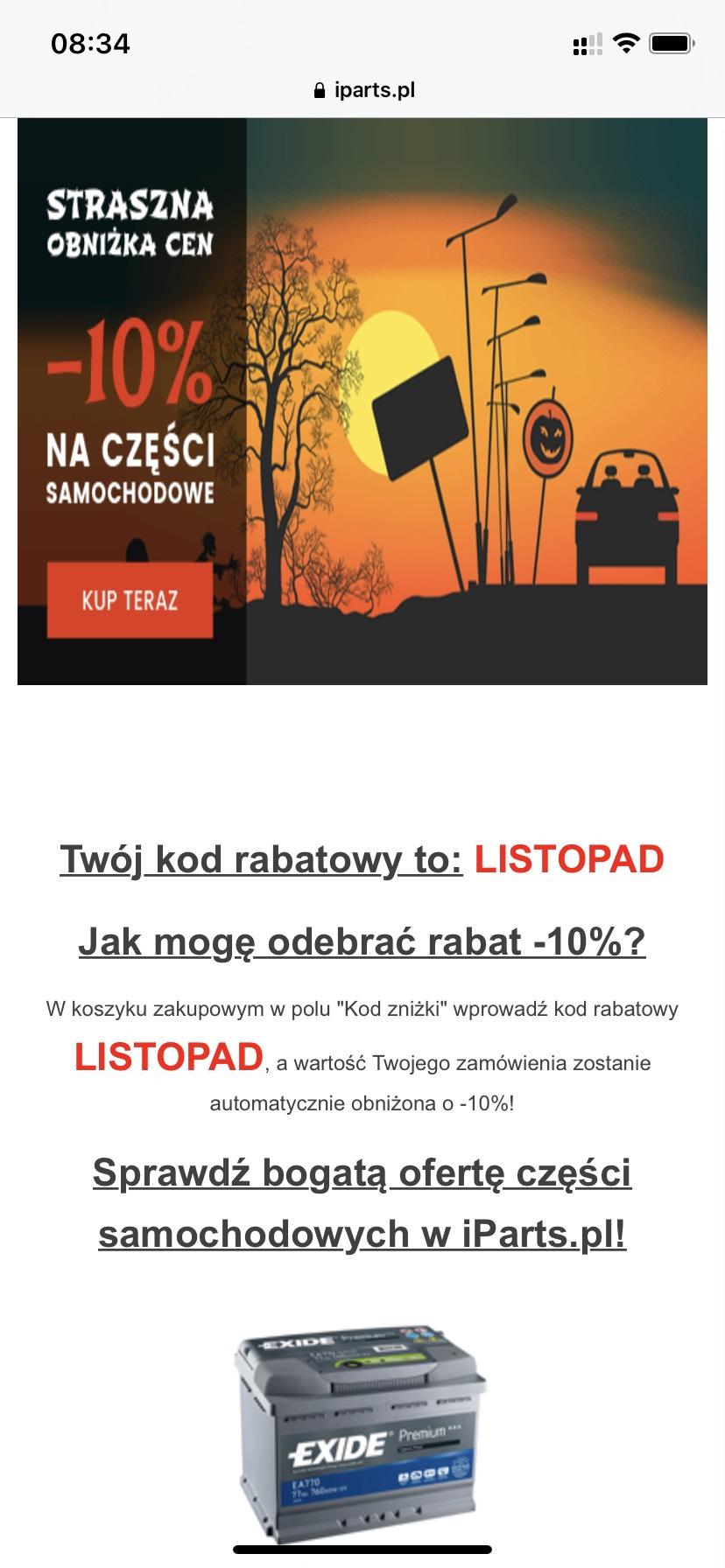 10% zniżki na części w iparts.pl MWZ 249zł