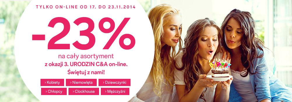 23% rabatu NA WSZYSTKO w sklepie online  @ C&A