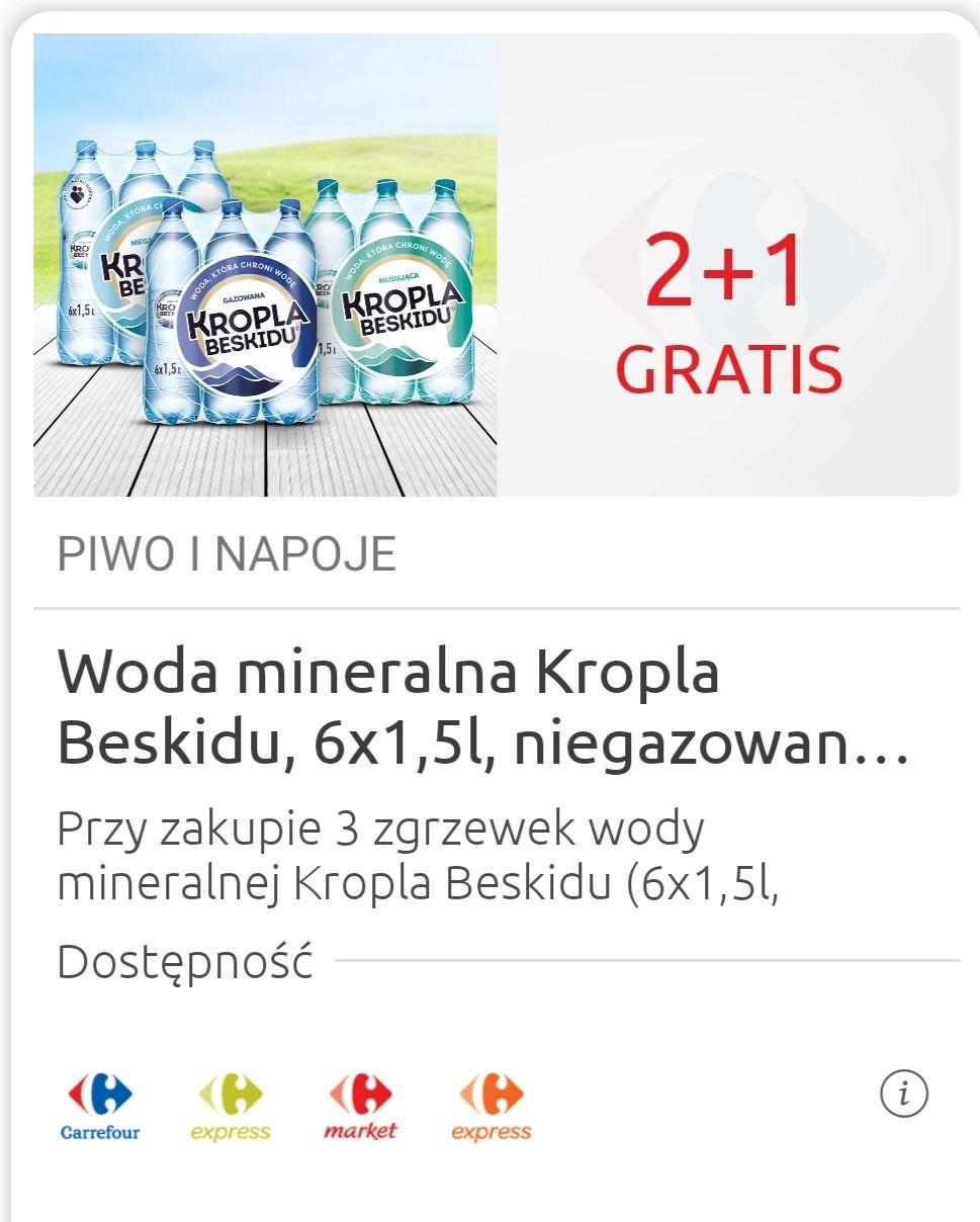 Woda mineralna Kropla Beskidu 3 zgrzewki 6x1.5L za 13.98zł(możliwe 12.77zł) @Carrefour
