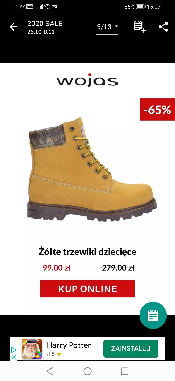 Żółte trzewiki dziecięce Wojas do -65% na obuwie dziecięce.