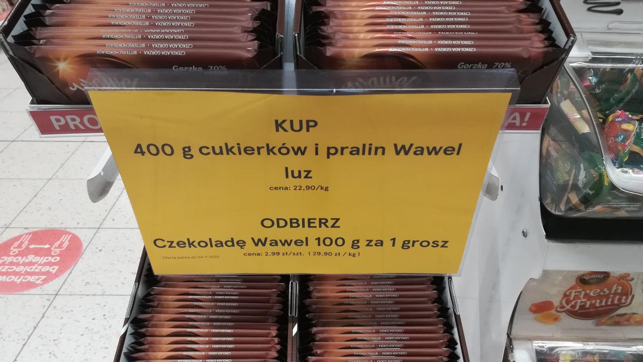 Cukierki wawel promocja, przy zakupie cukierków, pralin 400g + czekolada za grosz tesco
