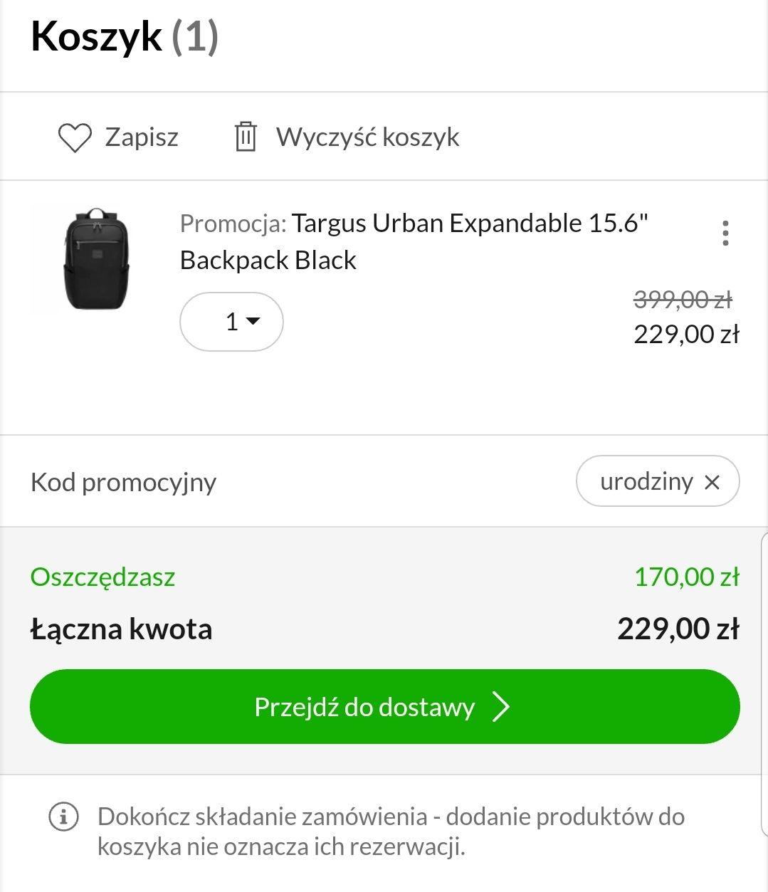 "Targus Urban Expandable 15.6"" Backpack Black"