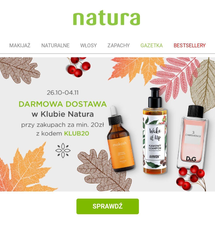 Darmowa dostawa z drogerii Natura (mwz 20zł, klub natura)