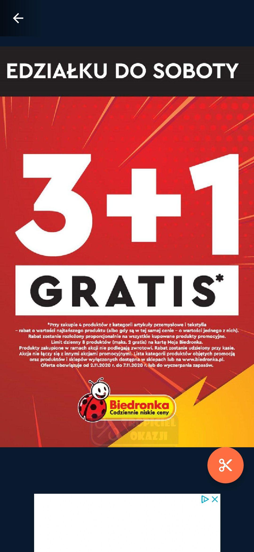 Akcja w Biedronce 3+1 gratis na artykuły przemysłowe i tekstylia.