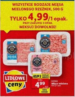 Wszystkie rodzaje mięsa mielonego 500g przy zakupie 3 opak. np. Mięso mielone wieprzowe z szynki 500g @Lidl