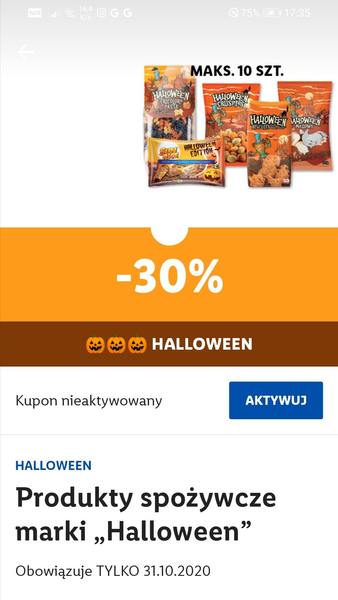 Promocja na halloween tylko 31.10 w aplikacji lidl