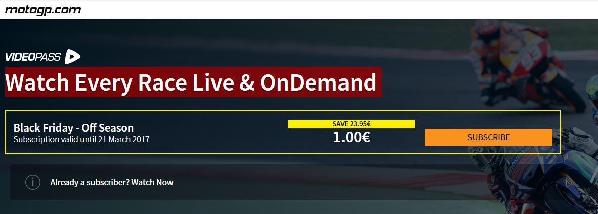 MotoGP online (abonamet ważny do 21 marca) za 1€