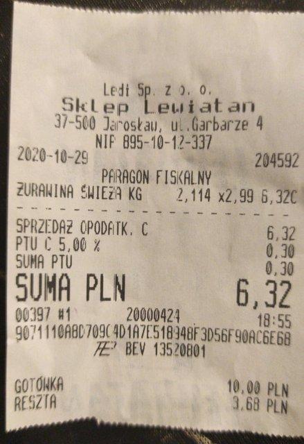 Żurawina świeża 2,99zł/kg Lewiatan