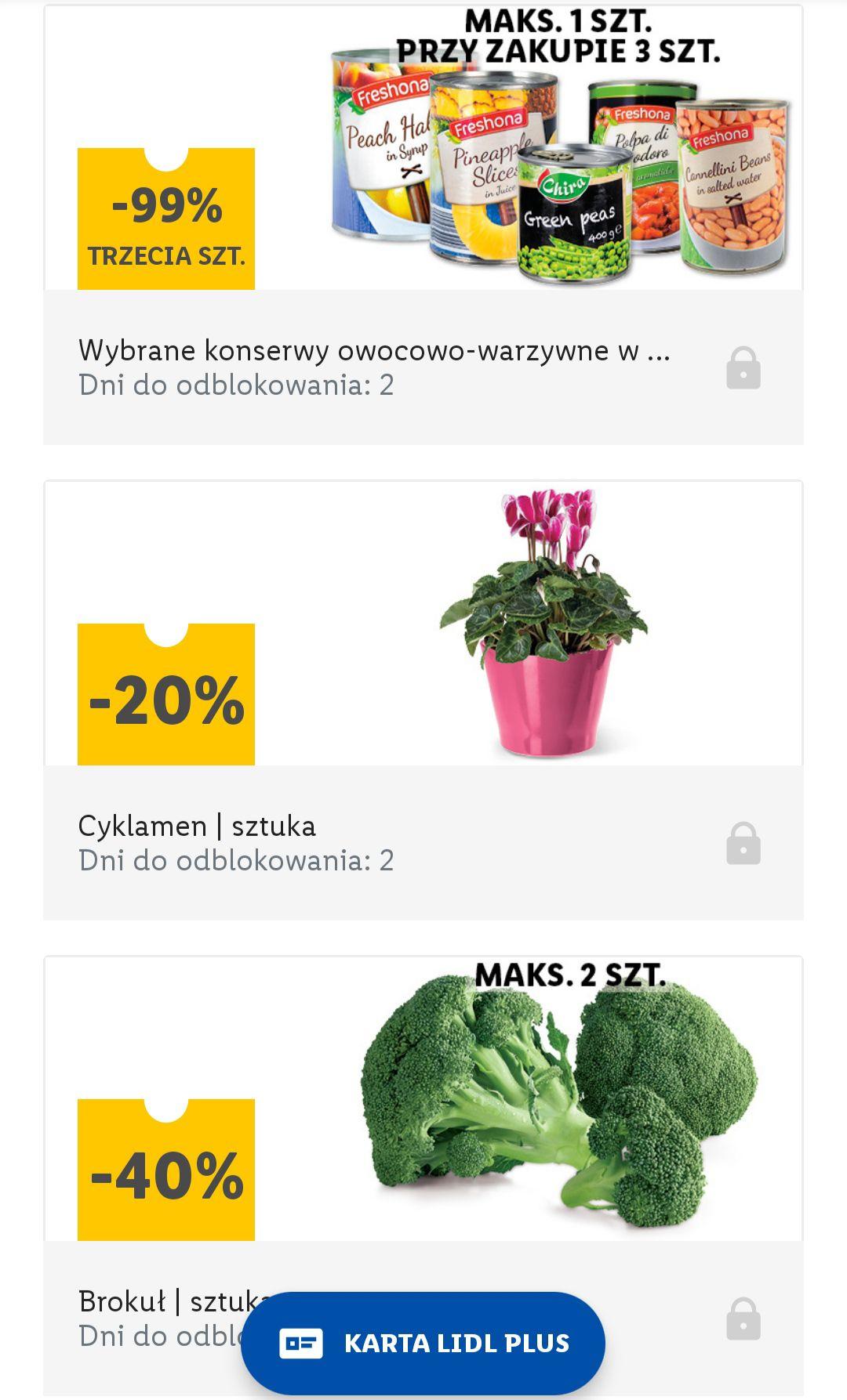 Ananas, brzoskwinie oraz inne puszki owocowo warzywne 3cia gratis. Brokuł 40 % taniej. Lidl