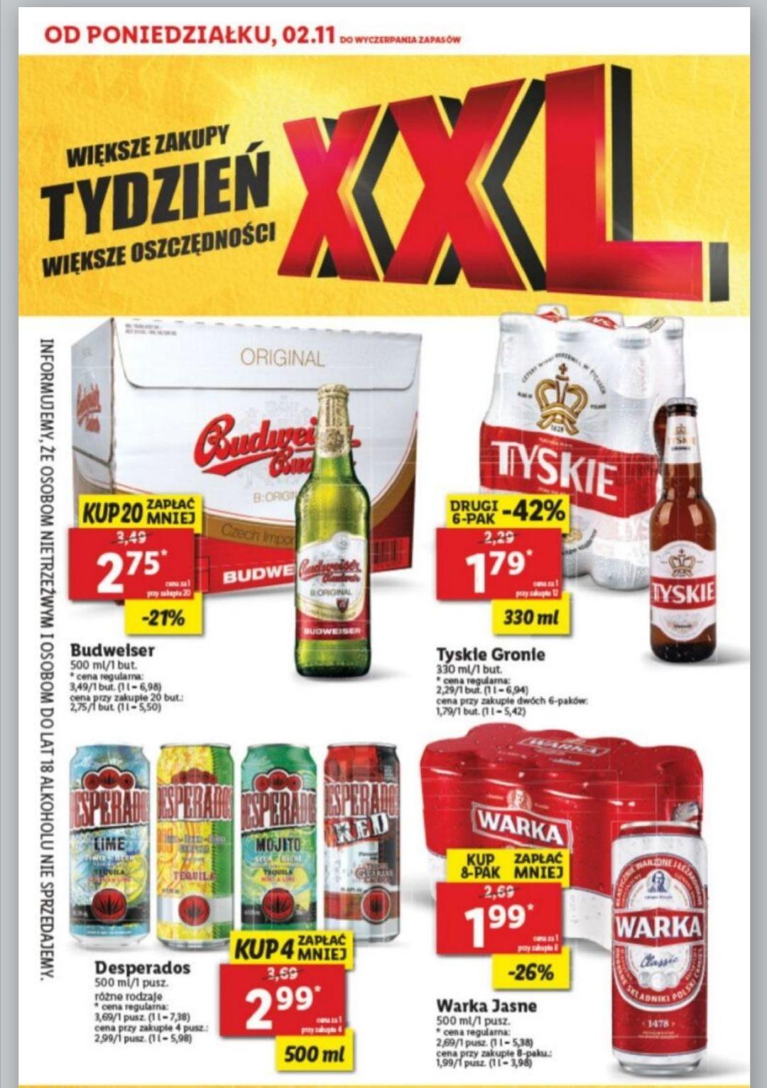 W Lidlu piwa taniej,np. Budweiser 2.75 (przy zakupie 20szt)