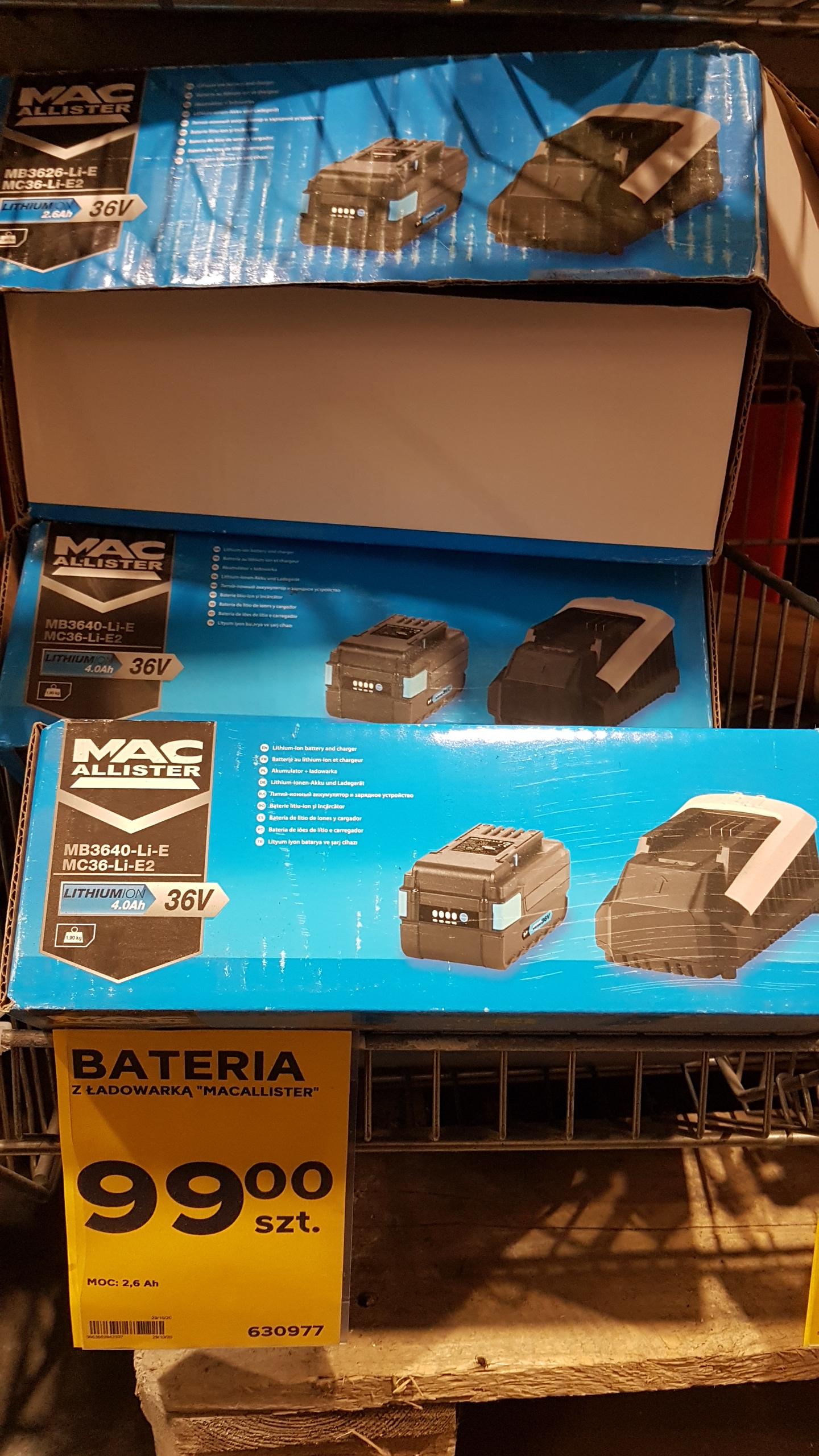 Akumulator MacAllister 36V + ladowarka, MEGA OKAZJA w Brico Depot