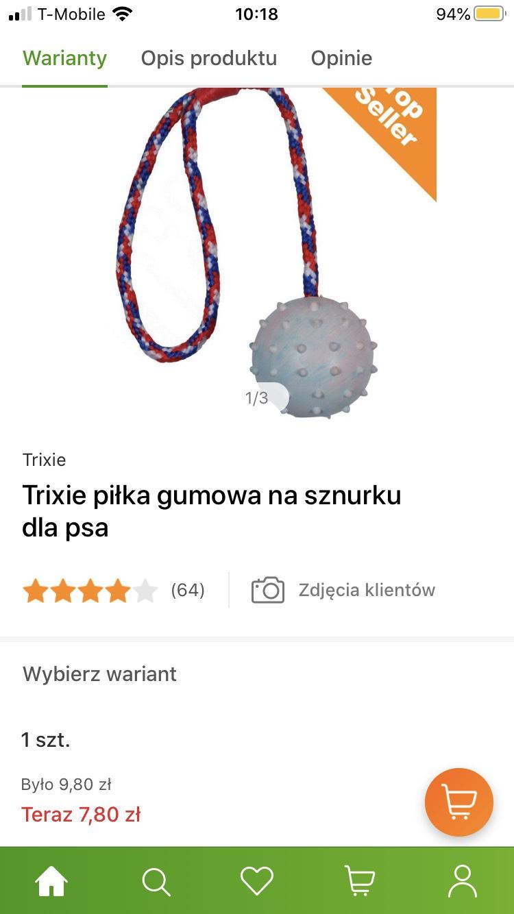 Piłka gumowa na sznurku dla psa