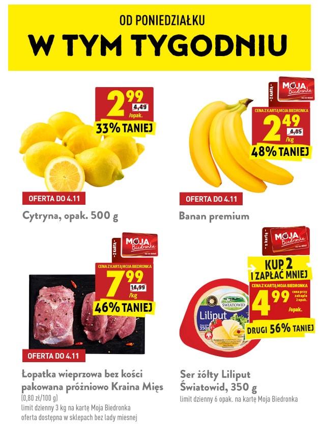 Promocje od 2.11 / Masło extra Mlekovita 3.49zł przy 2 szt, Cytryny 500g - 2.99zł, Banany 2.49zł/kg i inne - Biedronka