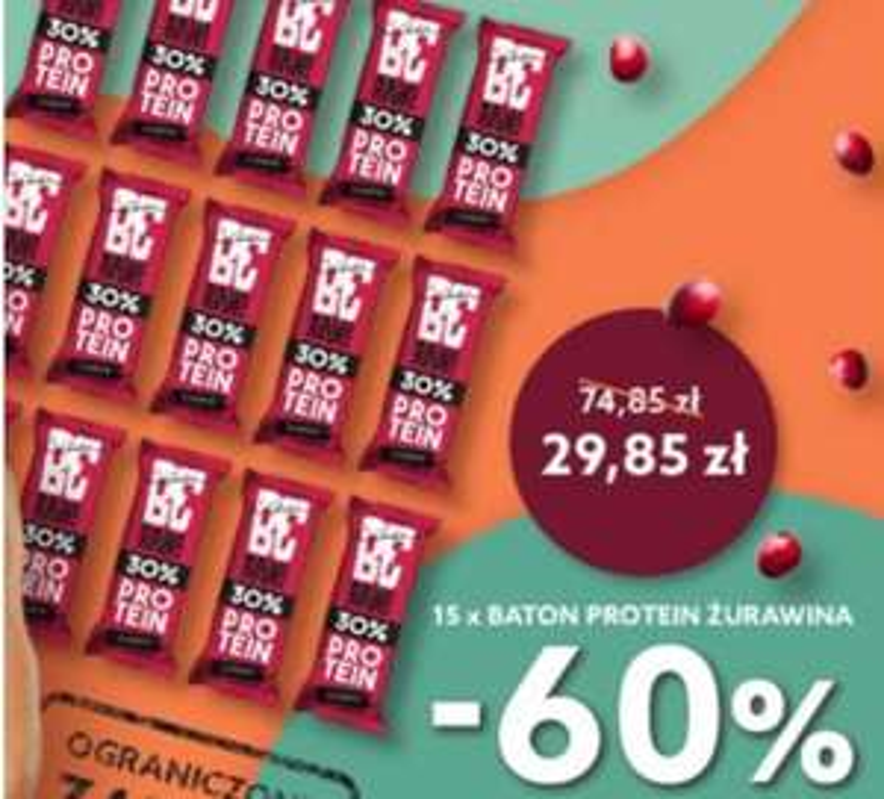 Baton BeRAW Protein 30% - żurawina | 40g x 15 sztuk minus 60%