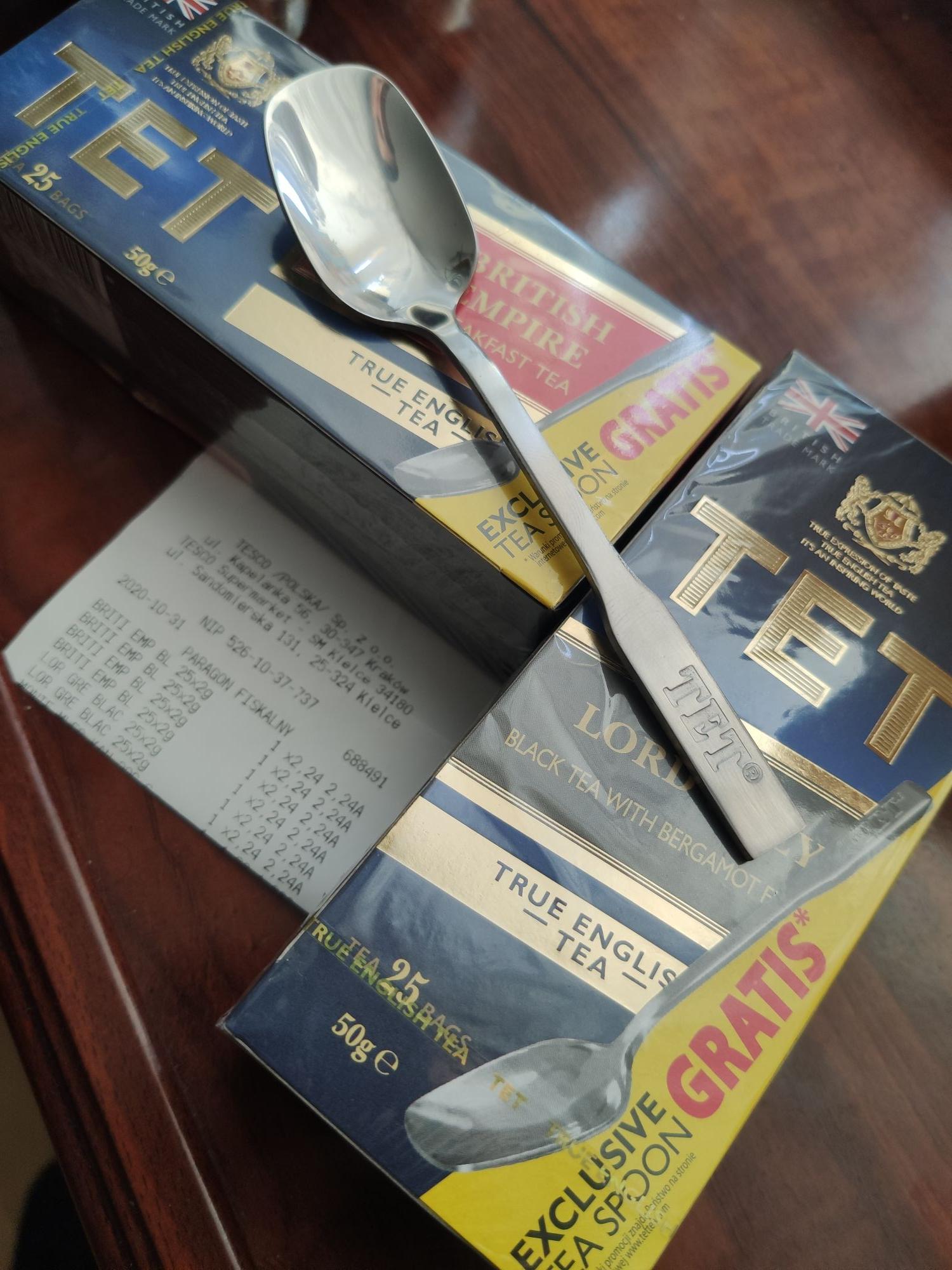 Herbata TET 2 rodzaje 25 torebek +łyżeczka gratis TESCO KIELCE