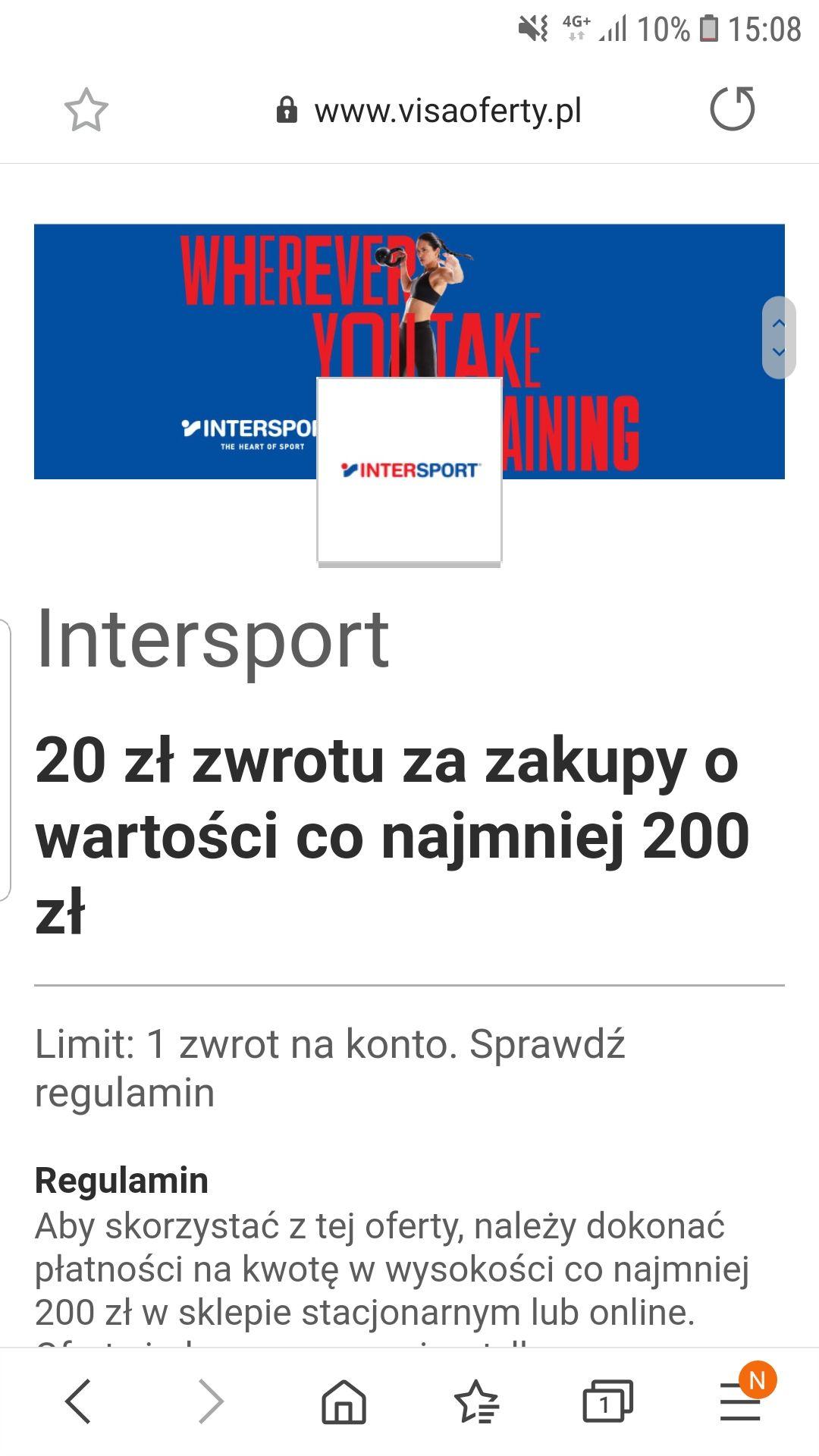 20 zł zwrotu za zakupy o wartości co najmniej 200 zł Intersport