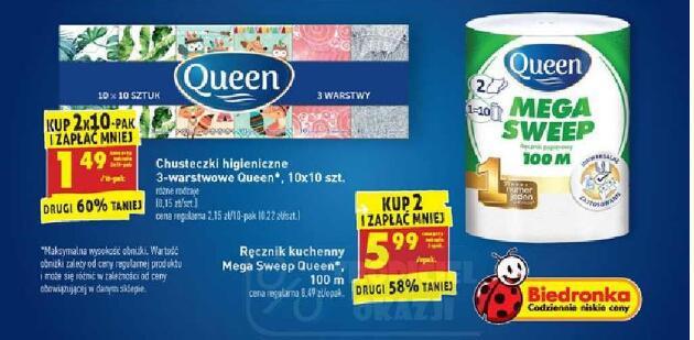 Queen Mega Sweep 100m przy zakupie 2 szt.|Chusteczki higieniczne 3-warstowe 10x10 szt. przy zakupie 2 opak. @Biedronka
