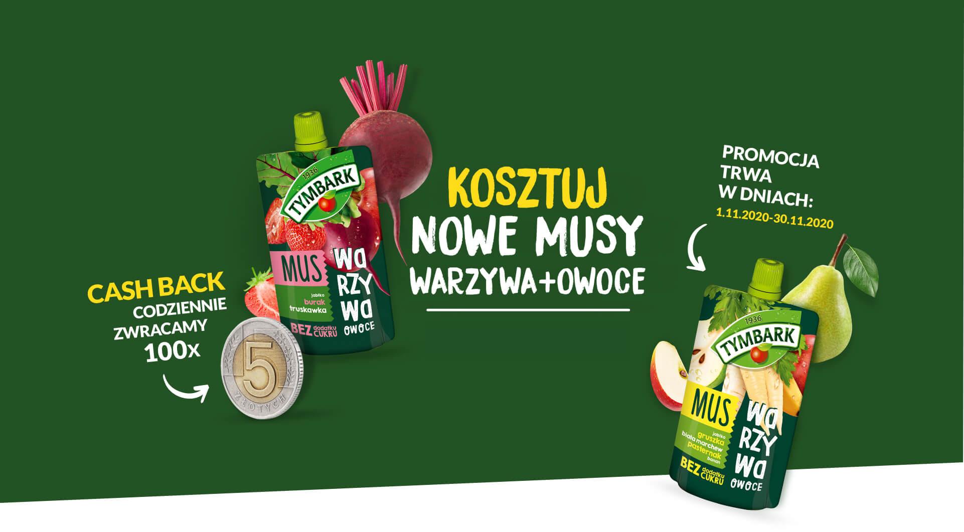 """Carrefour Promocja konsumencka """"Kosztuj nowe musy warzywa i owoce"""" zwrot, tymbark"""