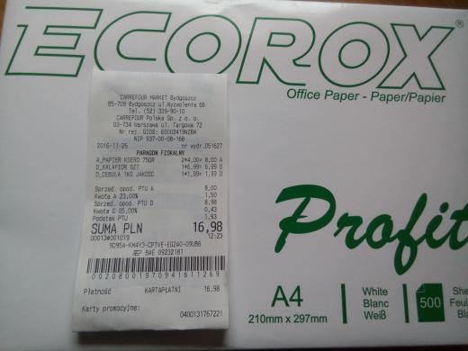 Papier ksero - ryza 4 PLN @ Carrefor Express